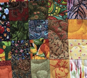 Details of the homemade patchwork as background